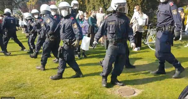 Wiener Polizei stürmt Kundgebung im Votivpark